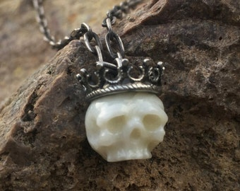 READY TO SHIP- Hand Carved Coral Skull Necklace Wearing Sterling Silver Crown - Coral Jewelry - Coral Pendant - Unique Gift - Anniversary