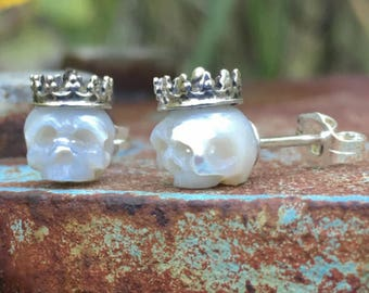 Hand Carved White Pearl Skull Stud Earrings Wearing Sterling Silver Crowns - Pearl Earrings - Christmas Gift - Gift for Her - Anniversary