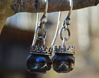 Hand Carved Black Pearl Skull Wearing Sterling Silver Crowns - Dangle Earrings - Pearl Skull Earrings - Halloween Jewelry - Gift for Her