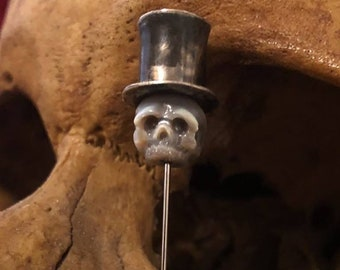 Hand Carved Pearl Skull Pin Wearing Sterling Silver Top hat - Gift for Him - Gift for Husband - Skull Pin - Gift for Boyfriend