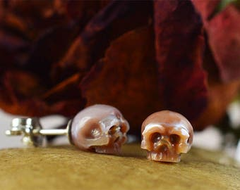 Hand Carved Pink Pearl Skull Stud Earrings with Sterling Silver Backs- Skull Earrings - Pearl Earrings - Unique Gift - Christmas Gift