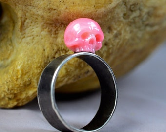 Carved Pink Coral Skull Ring on Thick Oxidized Sterling Silver Band - Halloween Ring - Halloween Jewelry - Skull Ring - Statement Ring
