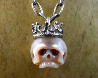 Hand Carved Pearl Skull Wearing Sterling Silver Crown Necklace -Pink Pearl - Gift for Her - Unique Gift- Holiday Jewelry - Pearl Necklace