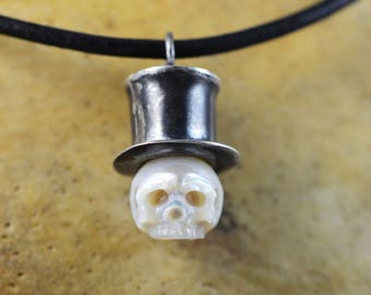 Hand Carved Pearl Skull Wearing Oxidized Sterling Silver TALL Top Hat - Pearl Necklace - Skull Pearl Pendant - Skull Jewerly - Halloween