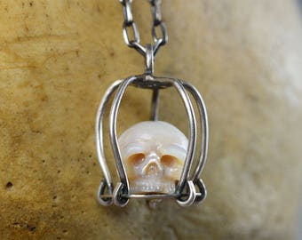 Hand Carved Pearl Skull Caged Skull Necklace - Sterling Silver Cage Necklace - Skull Necklace - Skull Pendant - Pearl Necklace - Anniversary