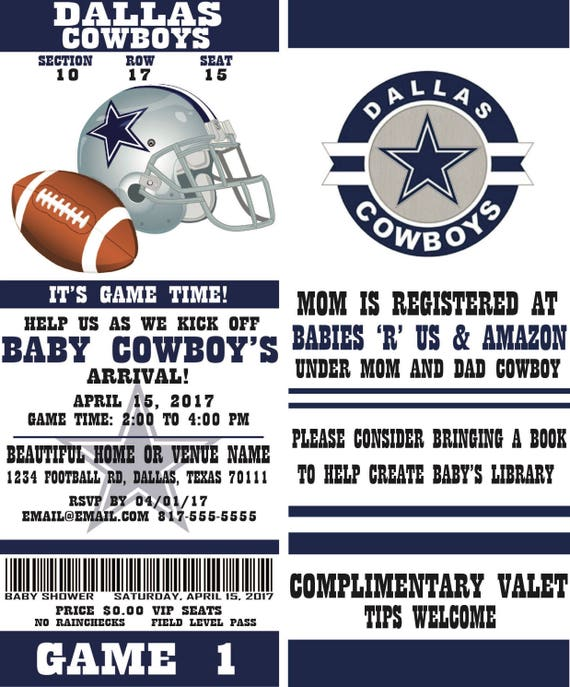 Football Ticket Party Invitation Dallas Cowboys Inspired