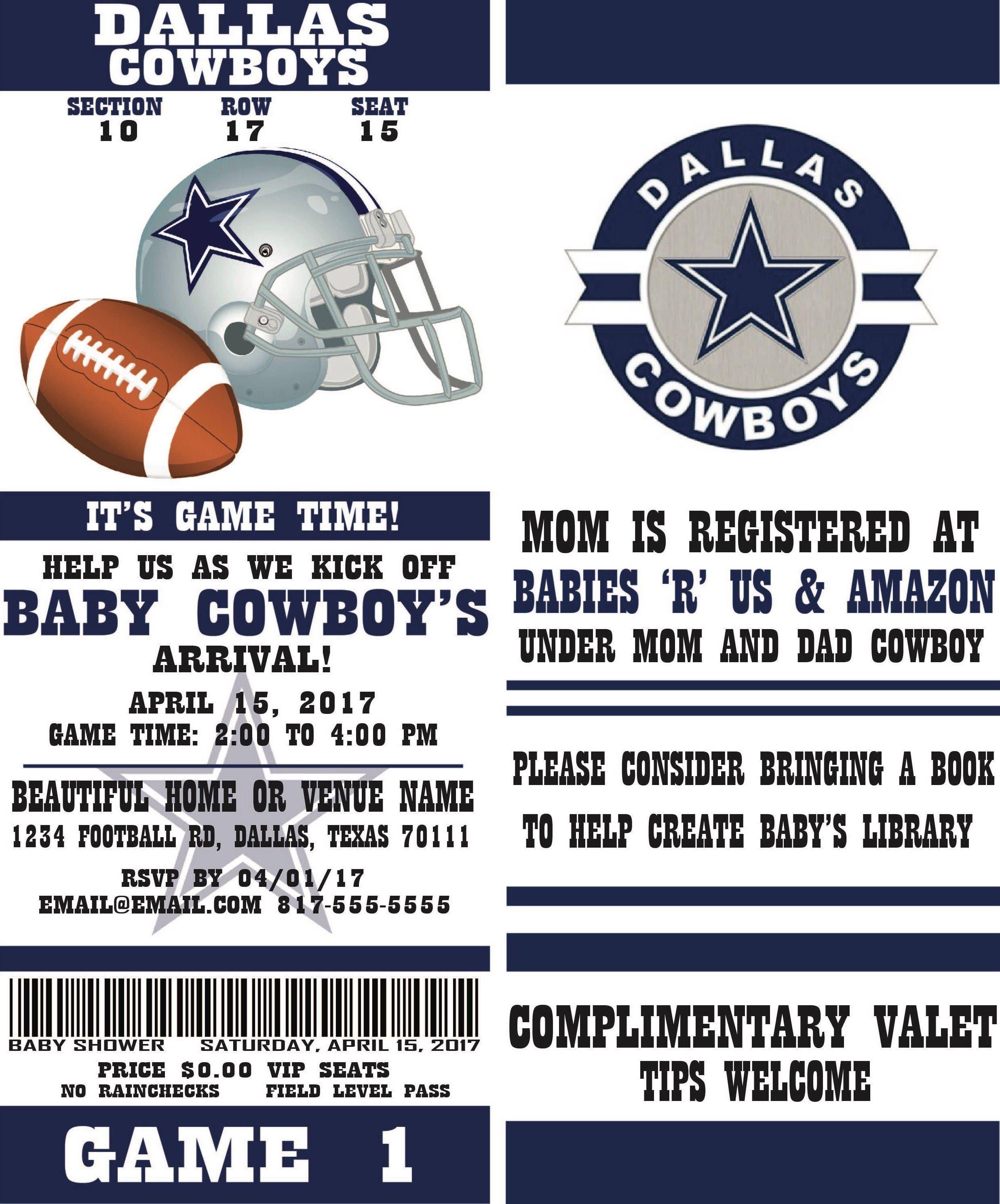 Football Ticket Party Invitation Dallas Cowboys Inspired | Etsy