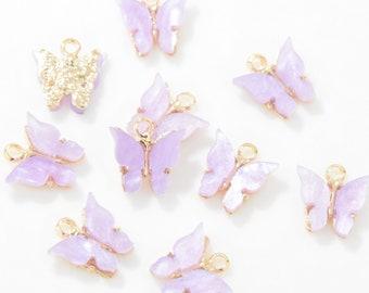 10 Purple Butterfly Charms Silver P Enamel Pendants 12mm Crafts Jewellery Making