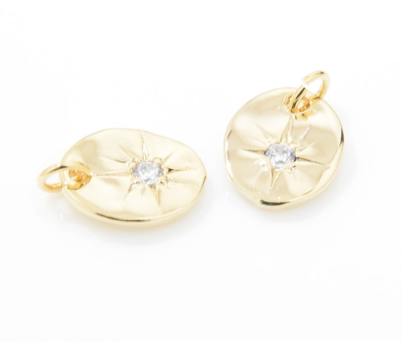 2pcs  EU0005-PG Star Coin Pendant Star Charm Cubic Star Pendant Coin Charm Star Beads 16K Polished Gold Plated over Brass