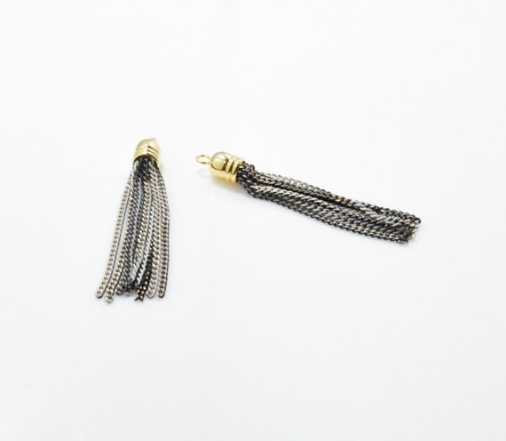 2pcs  UT0069-PGGY 16K Polished Gold Plated over Brass Cap Gray Chain Tassel Mix Metal Tassel Gray Tassel Gray Metal Tassel