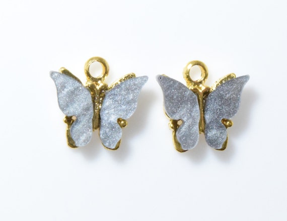 Pearl Charcoal Butterfly Pendant 2pcs  SK0005-PRPCC Acrylic Butterfly Charm Polished Rhodium Plated over Pewter