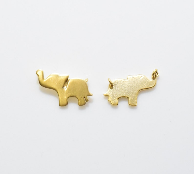 Jewelry Craft Supply 16K Matte Gold Plated over Brass Animal Pendant Elephant Connector Elephant Brass Pendant 2pcs  IA0143-MG