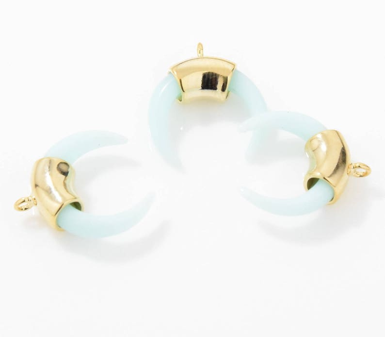 Skyblue Gemstone Ox Horn Pendant Gemstone Bull Horn Charm 16K Polished Gold Plated over Brass Crescent Pendant 2pcs  IA0016-PGSB