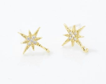 Cubic Star Post Earring . Star Brass Earring . 925 Sterling Silver Post . 16K Polished Gold Plated over Brass - 2pcs / UT0139-PG
