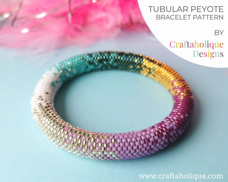 Colour Fusion Tubular Peyote Pattern Beaded Bracelet Pattern image 0
