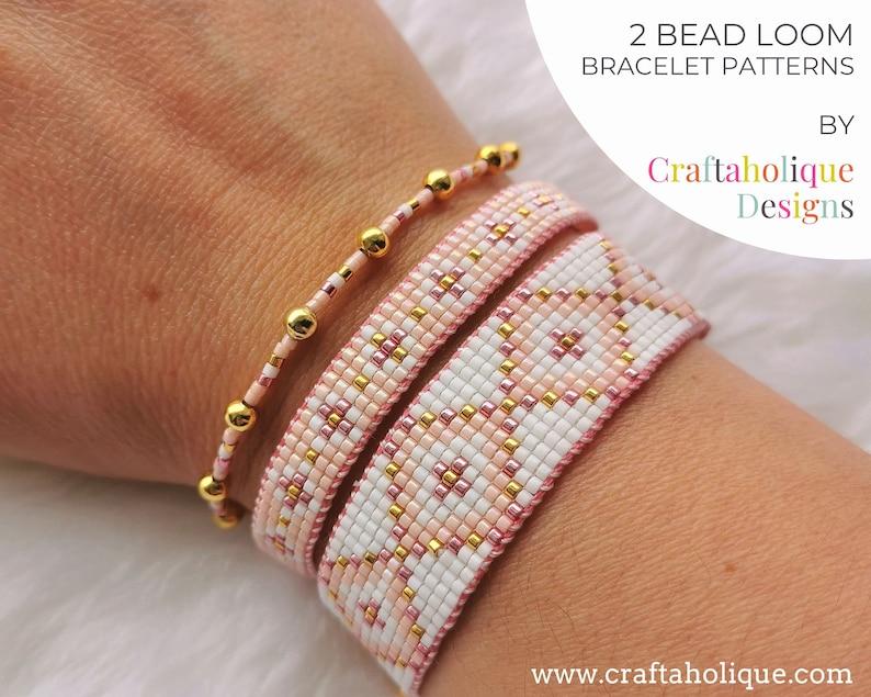 Bead Loom Bracelet Patterns  Set of 2. Pink Gold White image 0