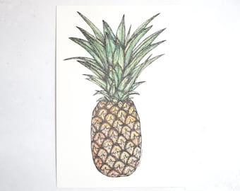 Pineapple - Original A4 portrait illustration