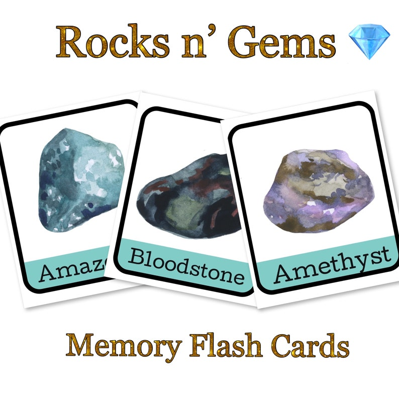 Watercolour Rocks and Gemstone Memory Card Game flash cards Montessori  science minerals homeschool preschool print and play pnp unit study