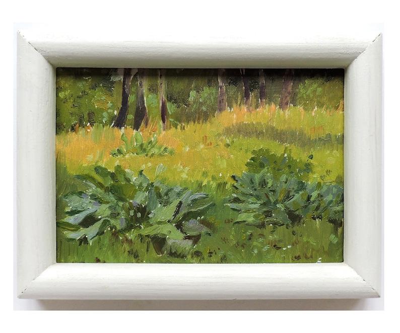 Floral art Summer forest landscape Framed antique painting ORIGINAL OIL PAINTING by Soviet Ukrainian artist M.Chaliy Trees painting 1960