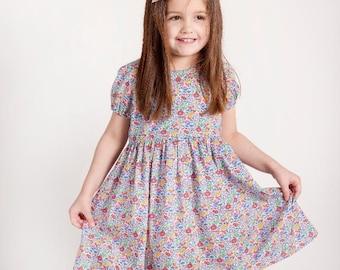 3b2a116880e READY to SHIP DAISY Handmade Liberty of London Print Short Sleeve Girls  Dress