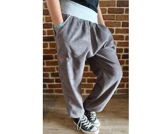 "Schniesel Women's Corduroy Pants Harem Pants "" Grey Broad Corduroy Cotton Pants "" Grey Corduroy in Harem Pants Cut"