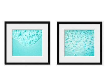 Bathroom set of 2 photos, Bubbles photography, abstract print, Bathroom wall art, Turquoise aqua wall art, Bathroom decor