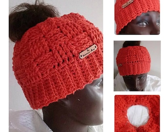 Pumpkin Orange Basket Weave Crochet Messy Bun Hat