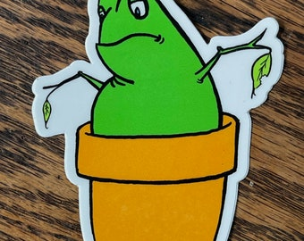 High Quality Potted Frog, Vinyl Sticker