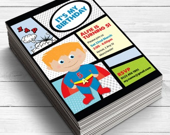 Create Your Own Superhero Invitation Invites Party Supplies A Birthday