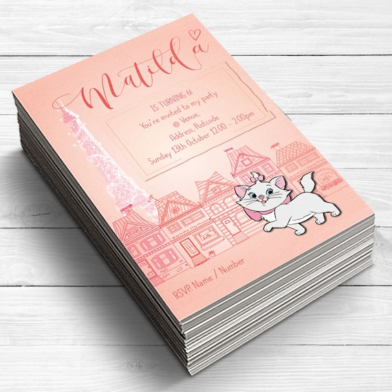 Marie Aristocats Invitations Girls Birthday Party