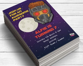 Star Lord Birthday Invitation, Guardians of the galaxy Invitations, Superhero party Invitations, guardians of the galaxy party, Star Lord