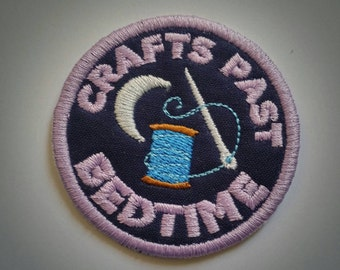 Sew-on patch - craft merit badge Crafts Past Bedtime embroidery - two sizes: 6 cm / 2.5 in, 8 cm / 3 in