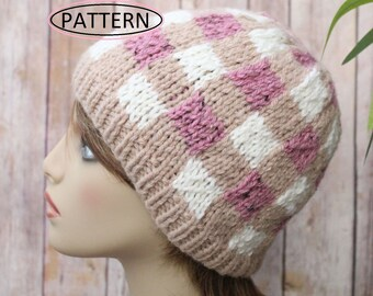 knitting pattern ladies and childs buffalo plaid hat    plaid hat pattern     mountain toque    nordic hat    lumberjack hat pattern kp502 56e3eeec0a