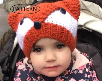 7db88c9c051 knitting pattern for ladies fox hat    childs fox hat pattern    childs hat  pattern    adult hat pattern kp494