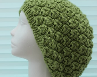 instant download knitted ladies  beanie  slouchy hat, UK & USA Terms KP383