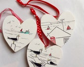 Hand painted wooden heart...