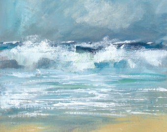 Giclee print. Breaking Waves Porthcurnick. Beach of The Hidden Hut Portscatho