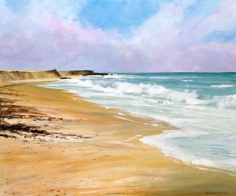 Towan beach Portscatho Cornwall giclee print. Original image 0