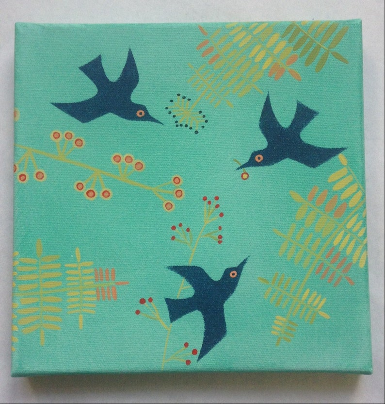 Acrylic painting birds and gardens cornish art made in image 1