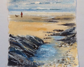 Cornish coastal art, acrylic painting, unique gift, made in Cornwall, seaside, beaches