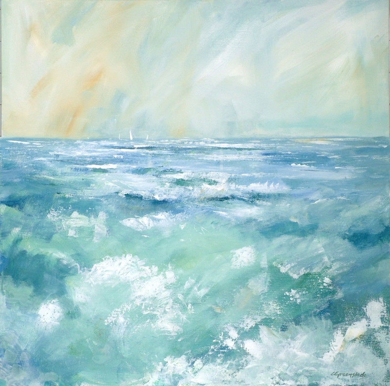 Giclee print original cornish seascape coastal art rough image 0