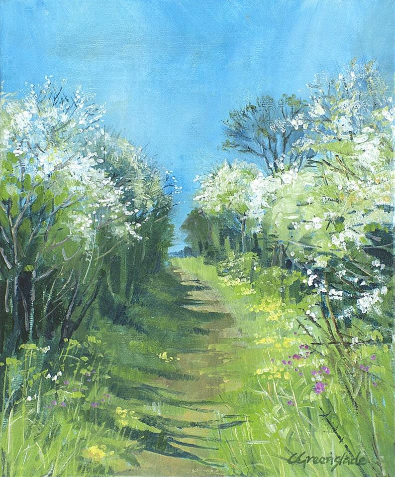 Giclee print original springtime landscape primroses image 0