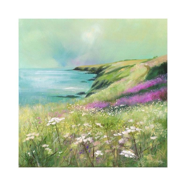 Giclee print cornish seascape coastal art cliffs wild image 0