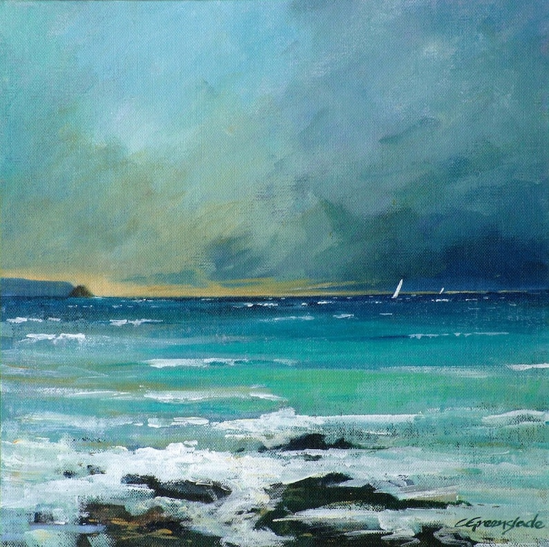Giclee print original cornish seascape coastal art Gerrans image 0