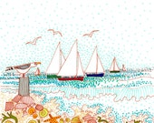 Sails, shells and seagull...