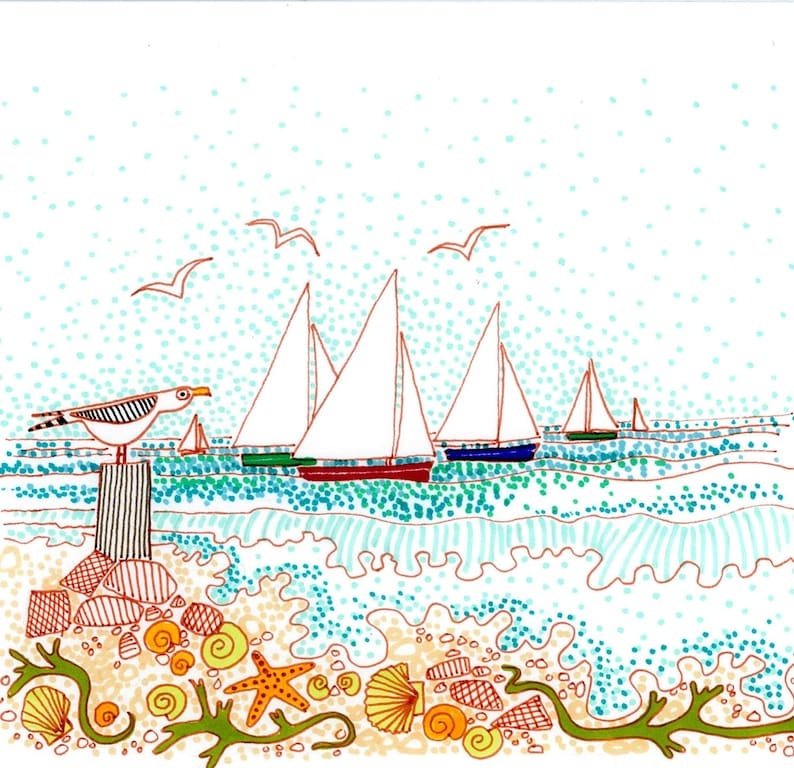 Sails shells and seagulls in Cornwall. Seaside design print image 0