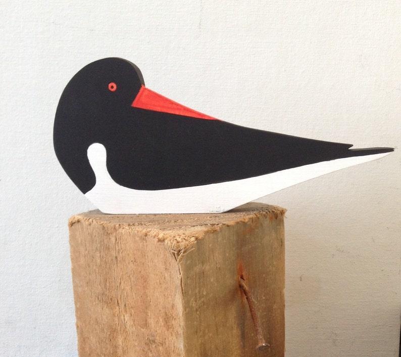 Oystercatcher hand cut wooden seabird image 0