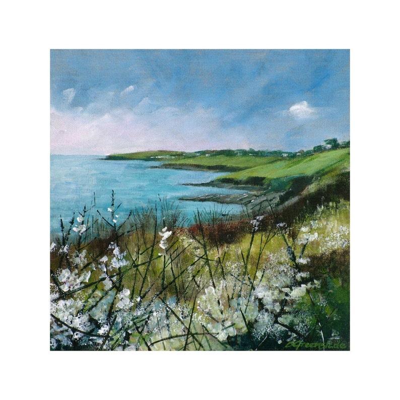 Giclee print Cornish seascape painting coastal cliffpaths image 0