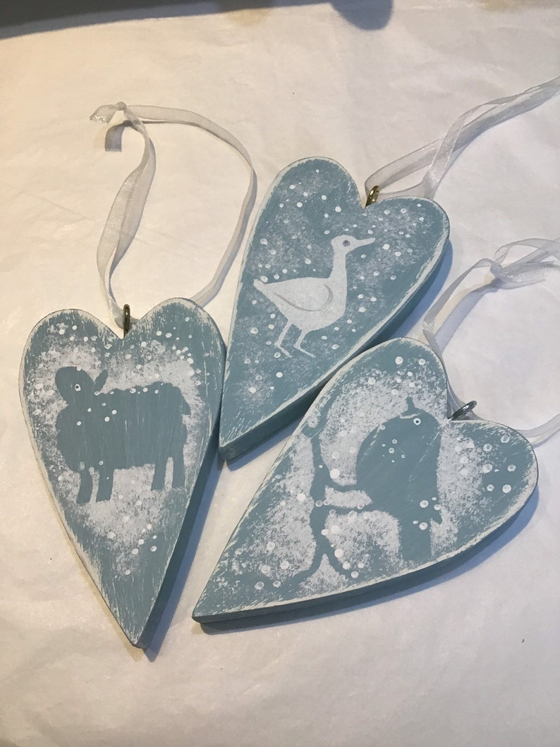 Christmas wooden hearts image 0