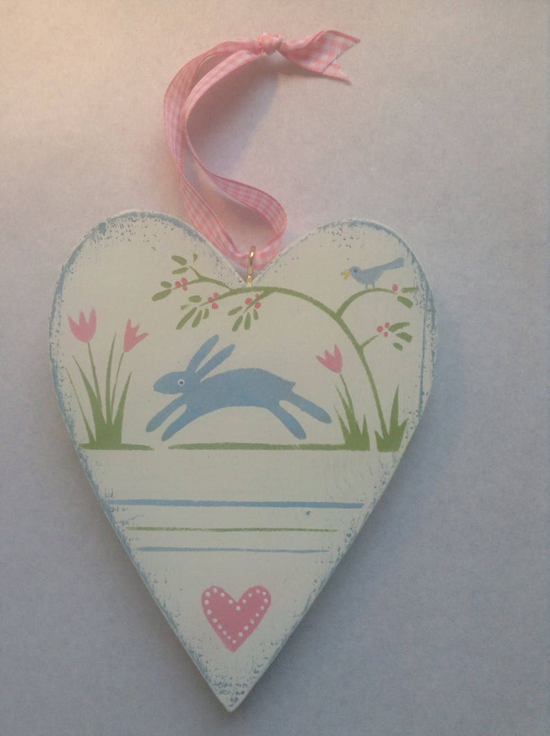 Wooden heart rabbit and bird. image 0